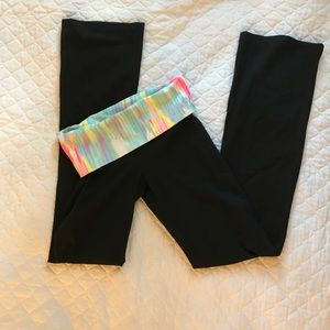 PINK Yoga pants black with multi colored waist